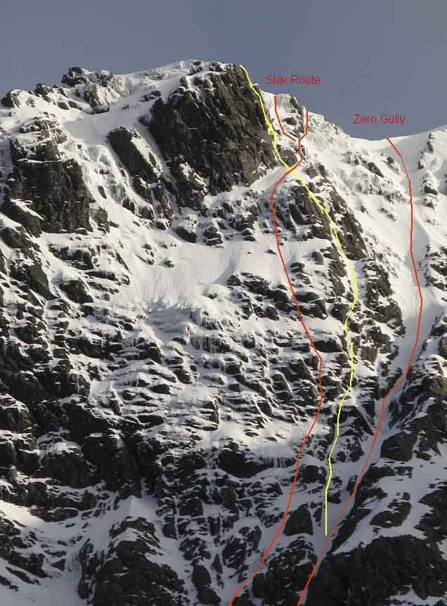 The Slav Route area on Orion Face. Orion Grooves (VI,5) marked in yellow, climbs the right side of the face overlooking Zero Gully before finishing up the steep headwall. (Archive Photo Simon Richardson)