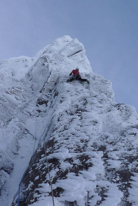 Guy Robertson making second ascent of Pic n'Mix (IX,9), Coire an Lochain, Northern Corries.