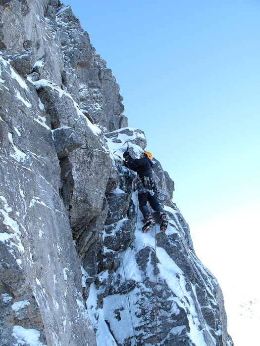 Iain Small on the first ascent of Fear of the Cold and Dark (VIII,8), Beinn Eighe. (Photo Pete MacPherson)