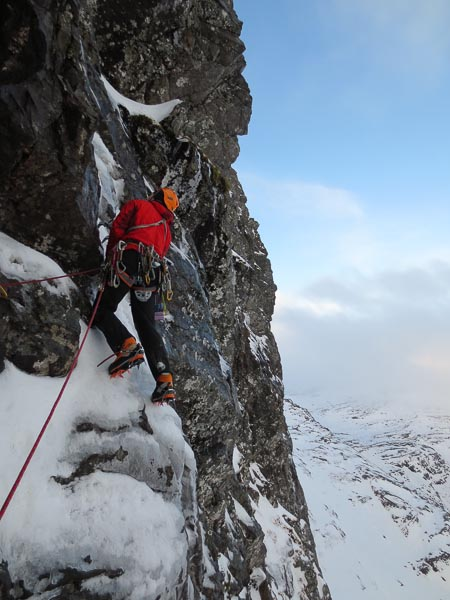 Andy Inglis finding a way through the fourth pitch during the first ascent of The Rebirth of Cool (VII,7), on the Upper Cliff of Coire Ghranda on Beinn Dearg. (Photo Guy Robertson)
