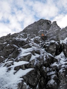 Dave Almond making an early repeat of Tuberculosis (VI,6) on Stob Coire nan Lochan. This rarely climbed two-pitch route takes the steep groove right of Crest Route and was first ascended by Dave Hollinger and Guy Willett in February 2004. (Photo Helen Rennard)