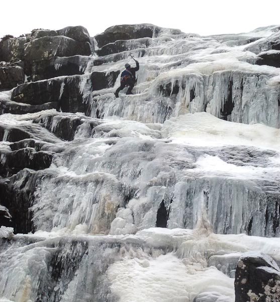 Brian Davison on the first ascent of Ossian Fall (III), a new 100m-long icefall situated on the north-facing hillside overlooking Loch Ghuilbinn in Strath Ossian. (Photo Andy Nisbet)