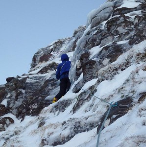 Dave McGimpsey climbing pitch 3 during the first ascent of Rongbuk (IV,4) on Toll an Lochain on An Teallach. This 500m-long route makes a fine companion to Potala Buttress (IV,4), first climbed by Des Rubens and Dave Broadhead in January 1987. (Photo Andy Nisbet)