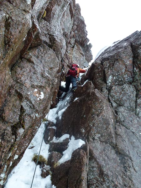 Jonathan Preston on the first ascent of a new III,4 on Stacan Dubha in the Loch Avon Basin on Christmas Eve. Conditions after the weekend thaw were excellent with good neve and freshly formed ice. (Photo Andy Nisbet)