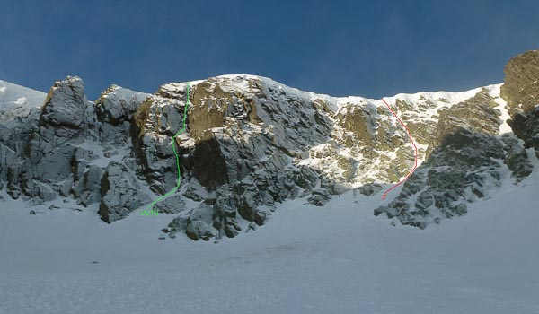 The right side of Garbh Choire Mor on Braeriach. The line of Jackpot (III) is shown in red (marked J), and (a bare) White Nile (V,5) in green (marked WN). (Photo Andy Nisbet)