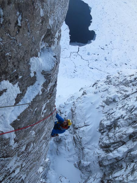 Greg Boswell seconding the big arête on pitch two during the first winter ascent of Shoot the Breeze (IX,8) on Beinn Eighe's West Central Wall. (Photo Guy Robertson)