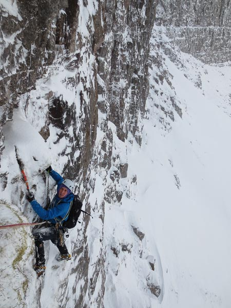 """Jason Currie on the first ascent of Immortal Memory (IX,9) on Beinn Eighe. """"To climb a completely new winter-only line up the middle of Far East Wall - for me this was hitherto the stuff of fantasy,"""" Guy Robertson wrote later. (Photo Guy Robertson)."""