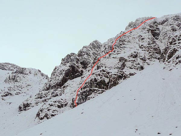 The line of Advice from a Caterpillar (III,4) in Coire na Poite on Beinn Bhan. This buttress is the right twin of Teapot Buttress and ends on the A' Cioch Upper Ridge below its main difficulties. (Photo Dave Riley)
