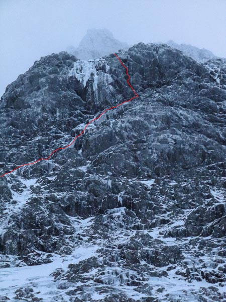 The line of Grooverider (V,6) on Ben Nevis. The route climbs just right of the great hanging icefall on North-East Buttress, which is one of the last remaining unclimbed ice features on the mountain. (Photo Pete Davies)