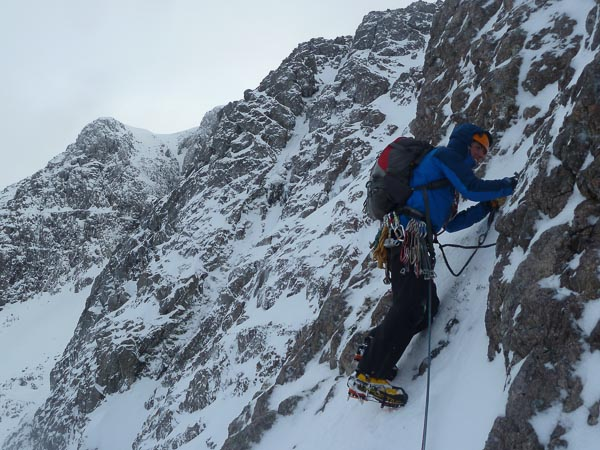 Andy Hogarth on the first ascent of Dairy Mik (IV,5) in Stob Coire nam Beith. This corrie, which lies high on the north-east side of Bidean in Glen Coe, is normally less crowded than neighbouring venues, and there is plenty of scope for variation for those enjoying mountaineering style routes. (Photo Andy Nelson)