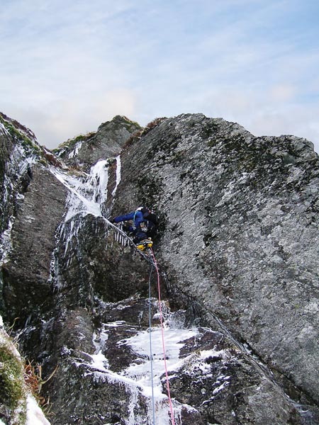 Forrest Templeman on the steep crux pitch of Stalingrad (VI,6) in Winter Corrie in Glen Clova. The route was climbed on Saturday February 2 - a notable anniversary - Stalingrad! (Photo Brian Duthie)