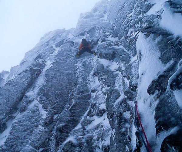 Tony Shepherd on the first ascent of Green Gully Groove (VI,5) on Ben Nevis. This line on the left wall of Green Gully was summed up as – 'nice climbing, little gear, great belays!' (Photo Rich Bentley)