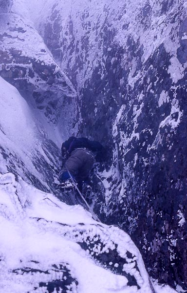Jeff Lowe on the probable first ascent of a new climb somewhere on Ben Nevis in March 1976. His partner Henry Barber is thinks that it may be in the Green Gully area, but is definitely somewhere between Point Five and Number Four Gully. (Photo Henry Barber)