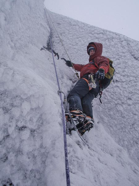 Donald King approaching the crux section of The Good Groove (VII,7) on Ben Nevis. This may be the only second time this route has been repeated since the route was first climbed in March 1993. On the first ascent (in similar icy conditions), Roger Everett belayed from the spike with the sling at the bottom of the photo. (Photo Tim Neill)