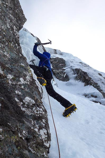 Dave McGimpsey on the first ascent of Begging for More (III,4) on the West Face of Aonach Beag. Although rarely visited, this cliff has some of the most reliable high altitude ice climbs in the country. (Photo Andy Nisbet)