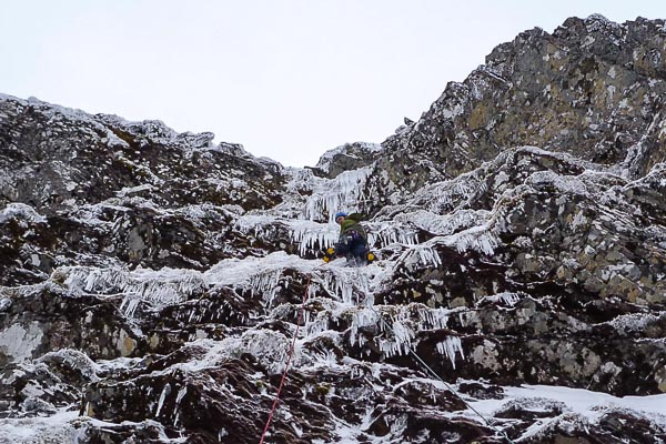 Michael Barnard on the second pitch of The Wasp (VI,5) on Creag Meagaidh during the first ascent. This 130m-long route is a natural continuation to The Blue Icicle, the prominent ice formation that regularly forms near the top of Raeburn's Gully on Creag Meagaidh. (Photo Neil Redgrave)