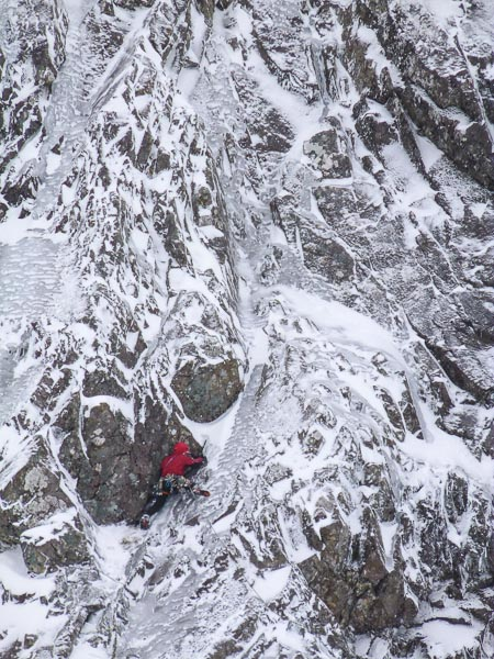 Pete Davies on the superb first pitch of Night of the White Russians (VII,6) on Observatory Buttress. Conditions on the mid-height ice routes on Ben Nevis have been superb for several weeks now, resulting in a steady stream of good new routes. (Photo Pete Davies Collection)