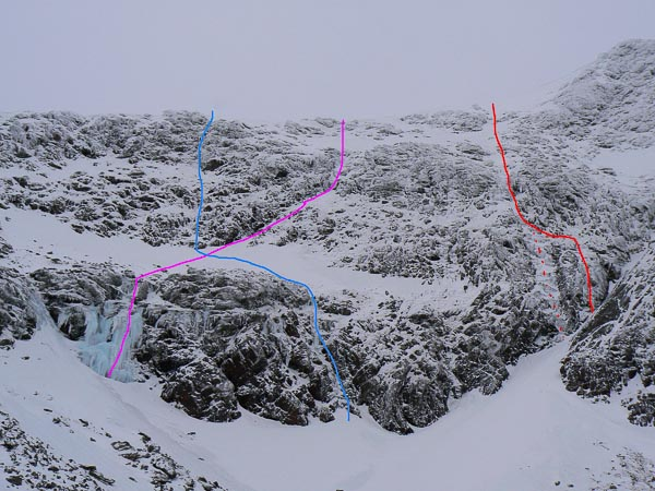 The left side of Sgurr Mor in the Fannaichs showing the two new routes recently climbed by Martin Hind. Blue: Happy Ravens (III,4); Pink: Gelid Groove (III,4); Red: Blue Sky Thinking (III,4). (Archive Photo Martin Hind)