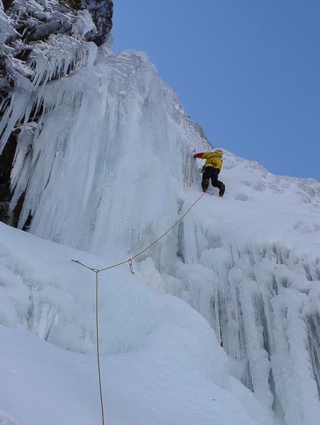 Andy Nisbet enjoying the first ascent of the 150m-long Fraoch Choire Icefall (V,5) in Glen Shiel. (Photo Dave McGimpsey)