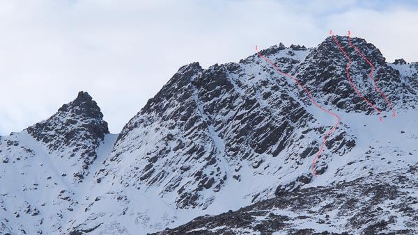 The 250m-high north face of Ceum na Caillich (the Witches Step) above Glen Sannox in Arran showing the new lines added this season. 1. Power Outage (II/III), 2. White Witch (IV,4), 3. Bewitched (IV,4). The only previous winter route on this crag was White Magic Groove (III), the wide gully on the left side of the picture. (Photo Andrew Fraser)
