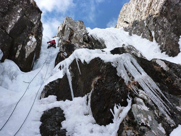 John Mackenzie on the first ascent of a new V,5 gully on Garbh Choire on Sgurr na Lapaich in Strathfarrar. (Photo Simon Nadin)