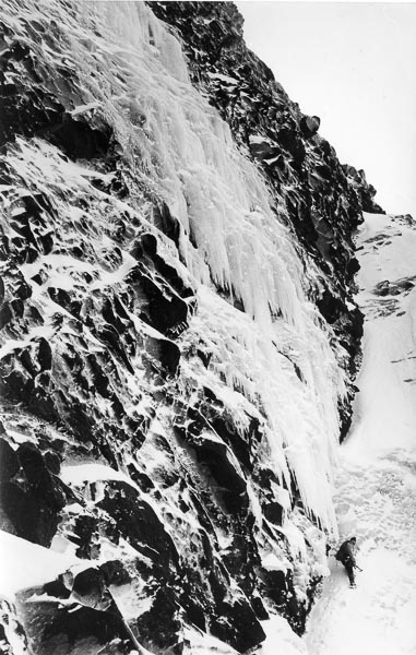 Doug Scott below The Smear (V) on Sgurr a'Mhadaidh just before the first ascent in 1979. The route was not climbed again for 34 years until Andy Huntington and Mike Lates repeated it this April. Scott later wrote that this was the hardest ice he ever climbed. (Photo Jim Duff)