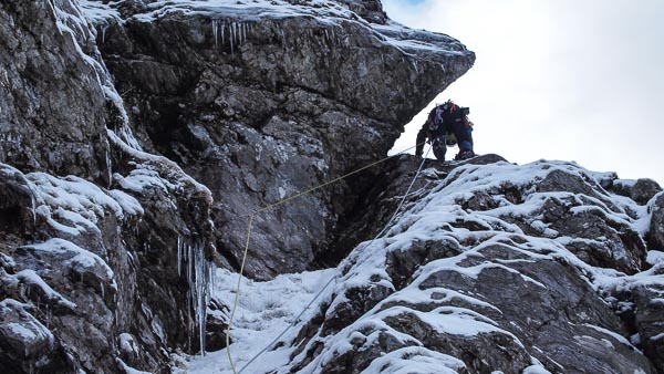 Ian Magill on the first ascent of Highway to Hell (III,5) on the north side of the North-East Ridge of Beinn Ime. This is the highest cliff in Arrochar and provides worthwhile climbing when conditions are lean. (Photo Andrew Fraser)