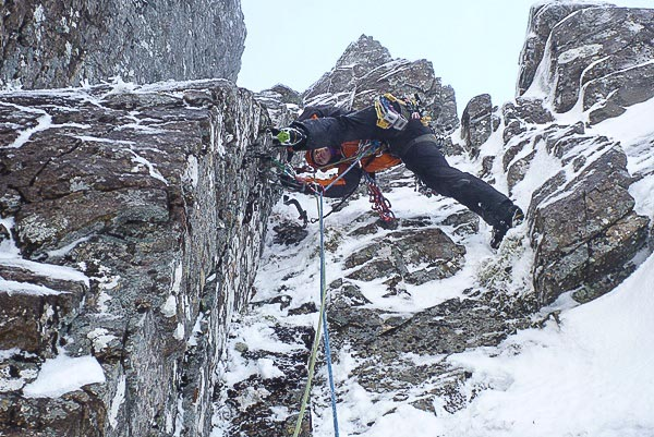 Helen Rennard climbing pitch two of Day of The Doctor (IV,5) on Ben Nevis during the first ascent. The route was repeated next day by Robin Clothier and Pat Ingram taking a more direct line on the final pitch, (Photo Simon Yearsley)