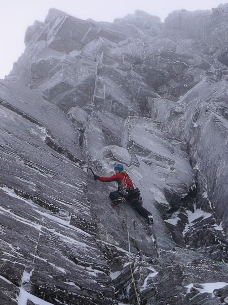 Tony Stone making the third ascent of Arthur (VIII,8) on Number Three Gully Buttress, Ben Nevis. The first winter ascent of this imposing line was made by Bruce Poll and Tony Shepherd in 2004 and was the third Grade VIII to be climbed on the mountain. (Photo Iain Small)
