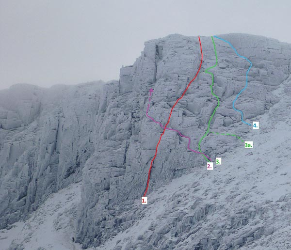 The right side of No.4 Buttress in Coire an Lochain on Cairn Gorm showing the line of Torquing to Myself. 1. Torquing Heads (VII,7), 2. Western Slant (IV,5), 3. Cut Adrift (III,4), 3a. Cut Adrift RH Start, 4. Torquing To Myself (III,4). (Photo and Topo Simon Yearsley)