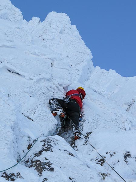 Roger Webb on the first ascent of Moonflower, a new Grade III in Coire nan Clach on Braeriach. Along with the mixed climbs high on Ben Nevis, the remote high corries of the Cairngorms are invariably the first areas to come into condition every season. (Photo Simon Richardson)