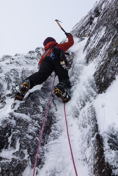Susan Jensen on the crux section of North Groove on the West Face of Aonach Beag. This route lies just left of North Buttress that saw its first ascent courtesy of Messers Nisbet and McGimpsey earlier in the month. (Photo Andy Nisbet)