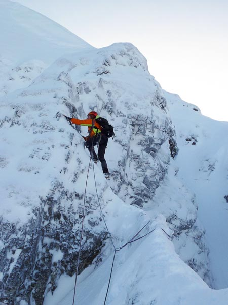 Susan Jensen on the first ascent of Willow Ridge (IV,4) in Coire Garbhlach. This rarely visited corrie is approached from Glen Feshie. (Photo Andy Nisbet)