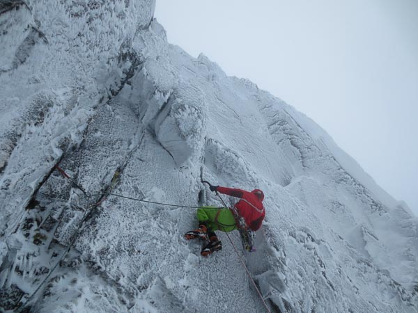 "Andy Inglis climbing the third pitch of The Brass Monkey on Ben Nevis during the second winter ascent. ""Pitch three was the crux, but pitch four was just really awkward!"" Neil commented afterwards. (Photo Neil Adams)"