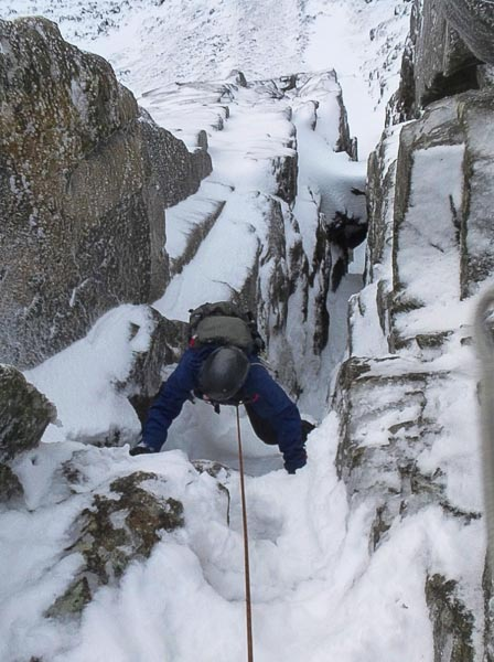 Jim following the new IV,5 gully in Coirena Banachdaich n the Cuillin. The route was climbed with a minimal rack of two slings and a single nut as the pair were not expecting to find any worthwhile climbing conditions that day. (Photo Mike Lates)