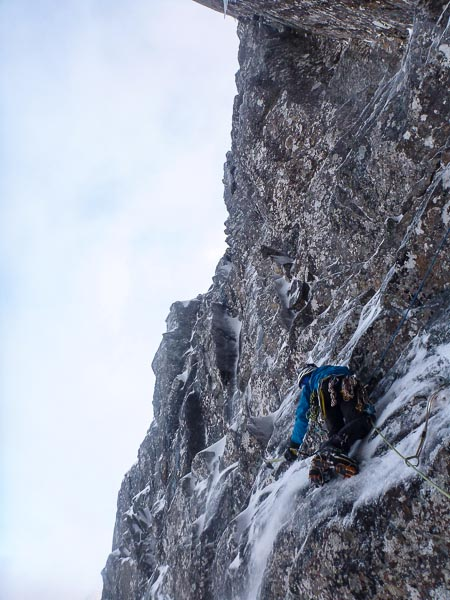 "Malcolm Bass on the first winter ascent of Turkish on Ben Nevis. ""We thought it was about VII,7 on the day, uncommonly amenable for a Ben Nevis HVS, enjoyable in its variety and situations and definitely worth a star!"" (Photo Simon Yearsley)"