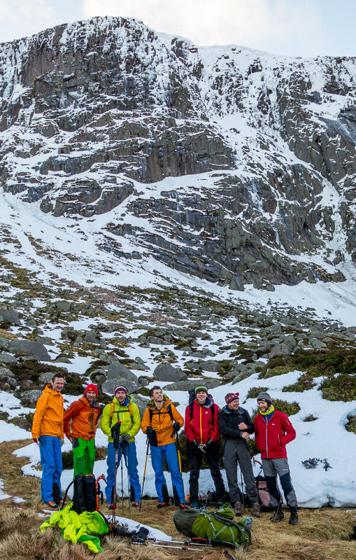 First acensionists Guy Robertson, Nick Bullock, Greg Boswell, Will Sim, Uisdean Hawthorn, Iain Small and Callum Johnson after climbing on Creag and Dubh Loch's forbiddingly steep Broad Terrace Wall. (Photo Simon Richardson)