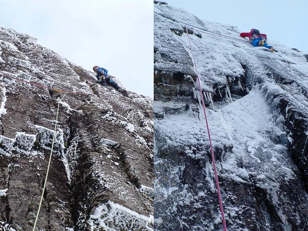 "Two contrasting views of the first pitch of Twisted in Stob Coire nan Lochan. The left photo shows Malcolm Bass enjoying delicate mixed conditions on the first ascent, and the right photo shows Dave Almond taking advantage of useful ice at the same point on the second ascent. ""There was quite a bit of the first ascent was on ice too,"" Malcolm commented. ""We were of the belief that ice would be critical, so had waited till there was a drool at the top of the wall."" (Photos Simon Yearsley/Helen Rennard)"