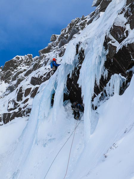 Craig Lamb leading the crux section of K9 (IV,4) on Lurcher's Crag on Sunday February 16 – one of four teams to climb the route that day. Or is this route Window Gully? (Photo Simon Richardson)