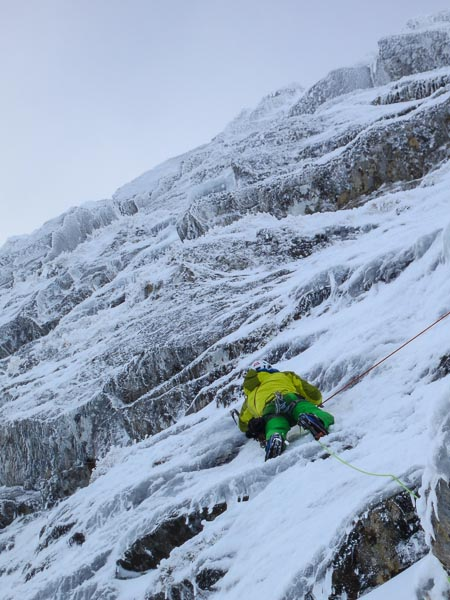 Nick Bullock climbing Extasy (VIII,8) on Creag Meagaidh. The third ascent of this legendary route on the second day of the BMC Winter Meet set the tone for the rest of the week. Despite poor weather, more new routes and high standard repeats were achieved than ever before. (Photo Jon Walsh)