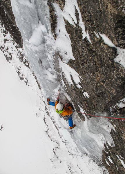 Guy Robertson following the ice section on the bold second pitch of One Step Beyond (IX,9) during the first ascent. The combination of steep technical mixed with thin vertical ice, makes this route one of the most challenging winter climbs in Scotland. (Photo Pete Macpherson)