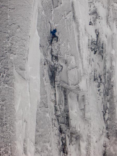 Iain Small on the first ascent of the Year f the Horse (IX,9). This is the second Grade IX that Small has added to cliffs of Stob Coire nan Lochan in as many weeks. (Photo Richard Bentley)