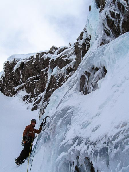 James Wheater on the first ascent of Icefall of Doom (V,5) on Creag an Dubh Loch. This steep two-pitch route lies on the right wall of North-West Gully on the far right-hand side of the cliff. (Photo Steve Addy)