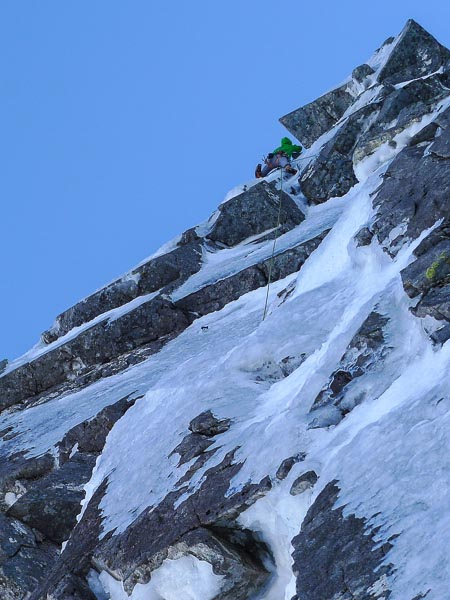 Murdoch Jamieson nearing the top of Minis One Superdirect (VII,8) on Ben Nevis. This was the first time the direct line up the centre of Minus One Buttress had been climbed in winter, although this pitch had previously been climbed by Guy Robertson, Pete Benson and Nick Bullock four years before. (Photo Iain Small)