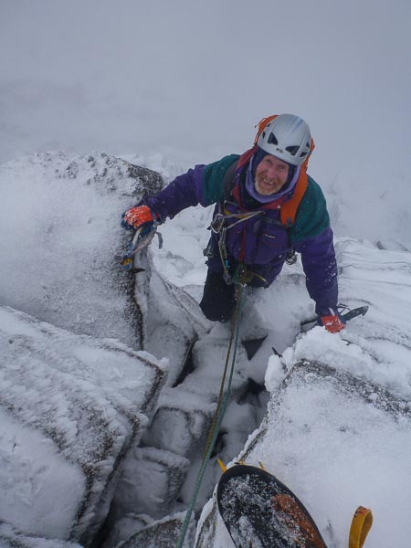 Andy Nisbet topping out on Just A Spot O'Sightseeing (IV,6) on the Mess of Pottage in the Northern Corries. This was the first recorded winter ascent of this summer Severe. (Photo Simon Yearsley)