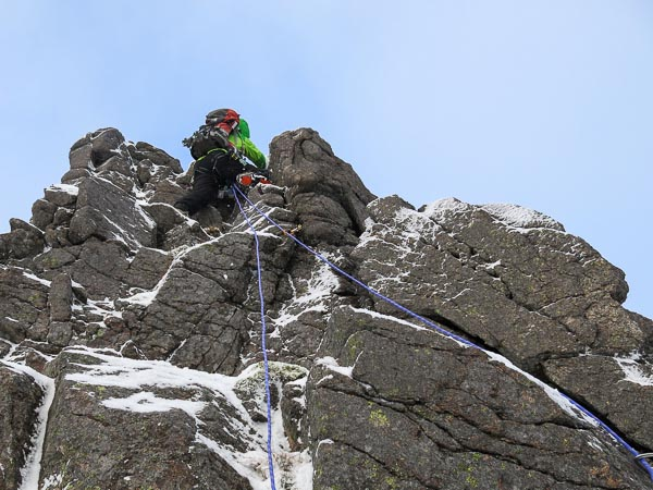 Roger Everett on the first ascent of Rumbling Ridge (III,4) on Braeriach. Rocky ridges make good early season routes as their relatively low angle means they collect snow and they do not rely on frozen turf. (Photo Simon Richardson)