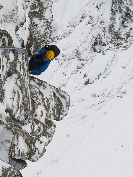 Roger Webb climbing the headwall on the North-West Buttress (IV,4) of Beinn a'Mhuinidh. (Photo Simon Richardson)