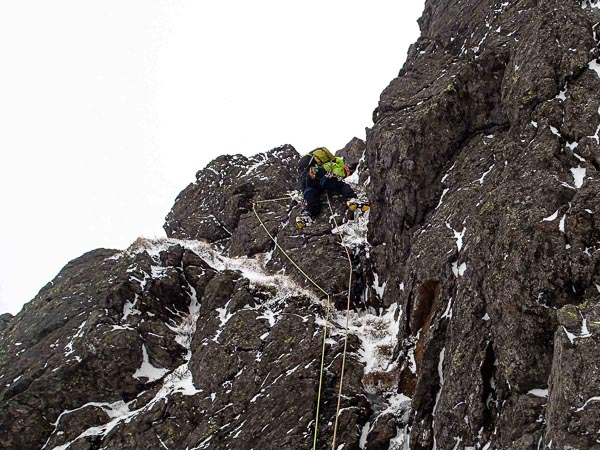 Iain Young making the first ascent of Boustie Buttress (III,4) in Corrie of Clova in the Angus Glens. (Photo John Higham)