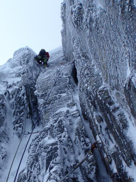 Dave Almond climbing the first pitch of The Secret (VIII,9) on Creag Coire na Ciste on Ben Nevis. Most photos of The Secret show the spectacular crack cutting through the headwall, but the first pitch provides excellent climbing in its own right. (Photo Graham Dawson)