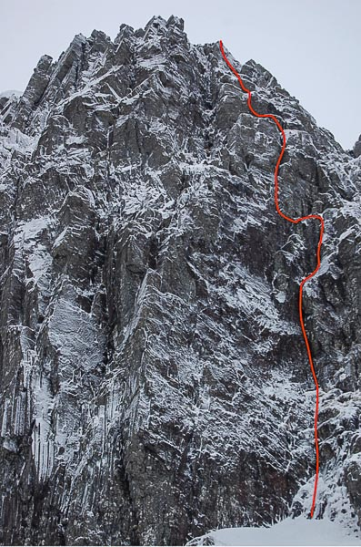 "The line of Tried and Tested (VII,7) on Stob Coire nan Lochan in Glen Coe. This sustained three-pitch route was described at being ""at the sporty end of its grade."" (Photo Andy Nelson)"